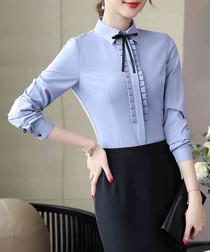 Grey bow long sleeve shirt