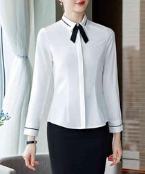 White & black bow long sleeve shirt