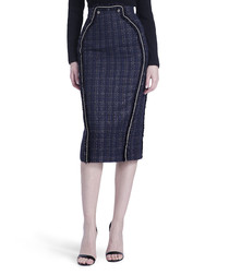 Navy wool blend checked midi skirt