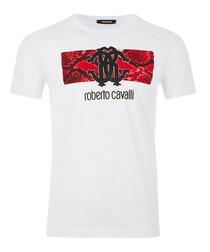White pure cotton scale emblem T-shirt