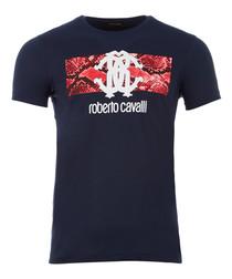 Navy pure cotton scale emblem T-shirt