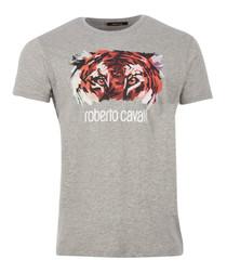grey pure cotton tiger logo T-shirt