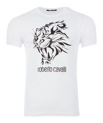 white pure cotton tribal cat T-shirt