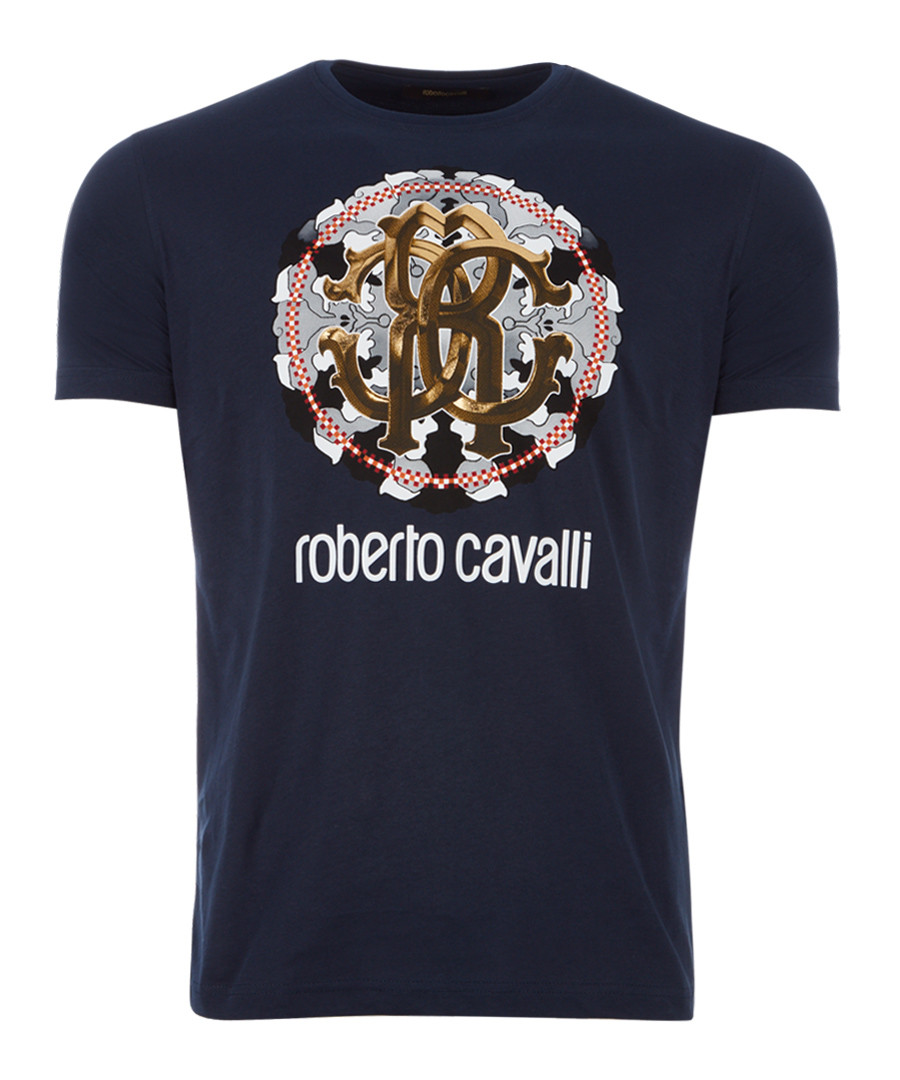 navy pure cotton wheel logo T-shirt Sale - roberto cavalli