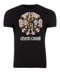 black pure cotton wheel logo T-shirt