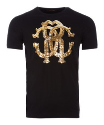 black & gold-tone cotton emblem T-shirt