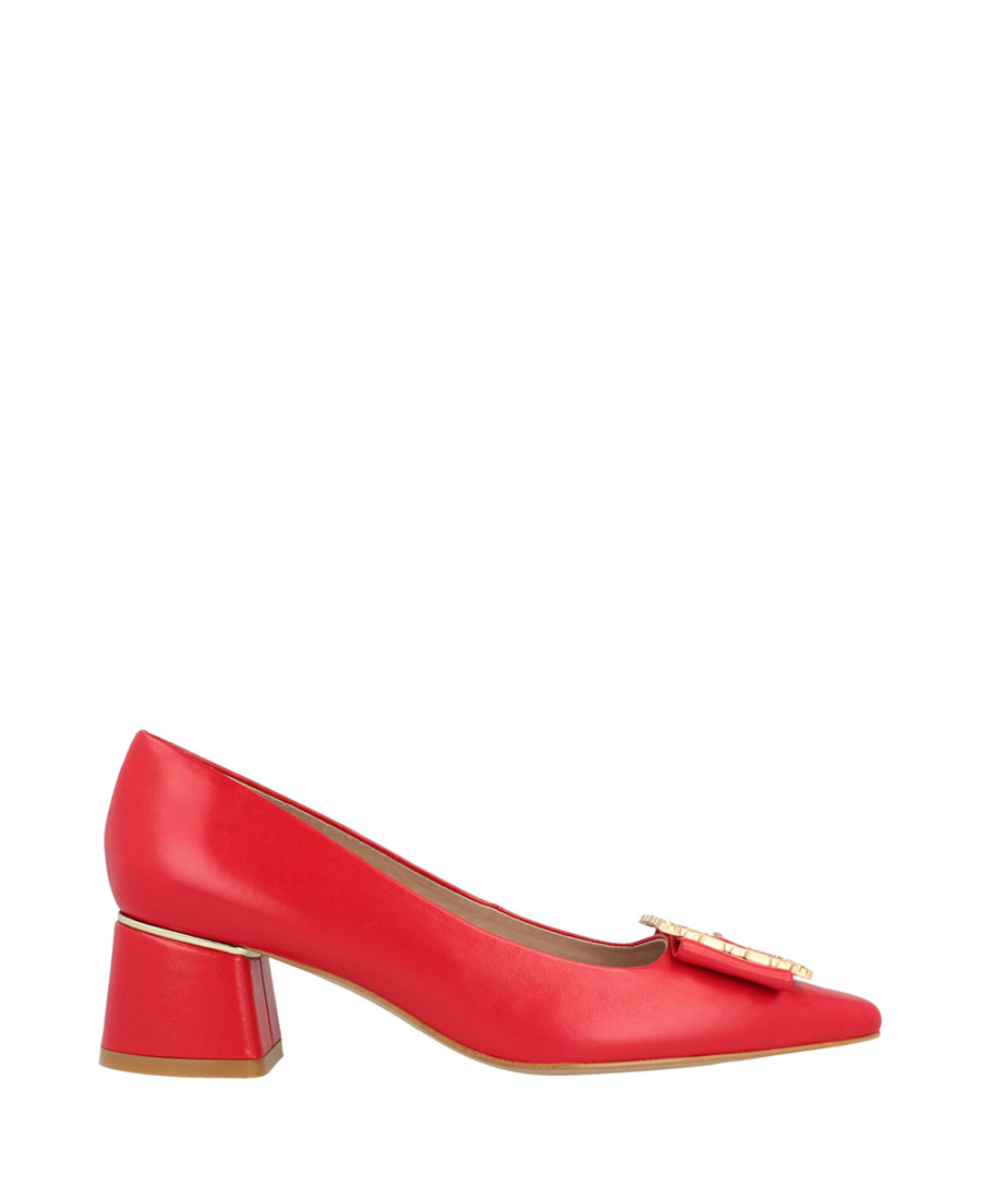 Red leather mid block heels Sale - roberto botella