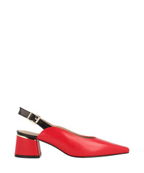 Red leather slingback block heels