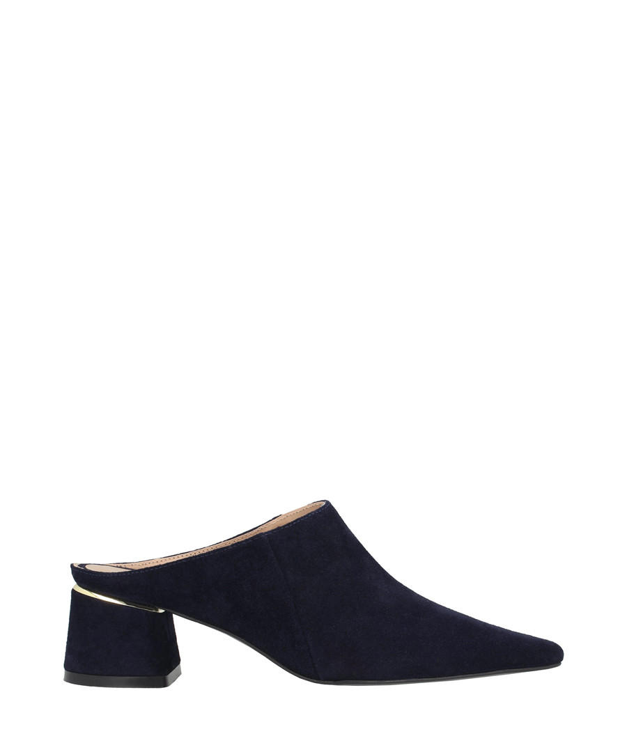 Midnight leather block heel mules Sale - roberto botella