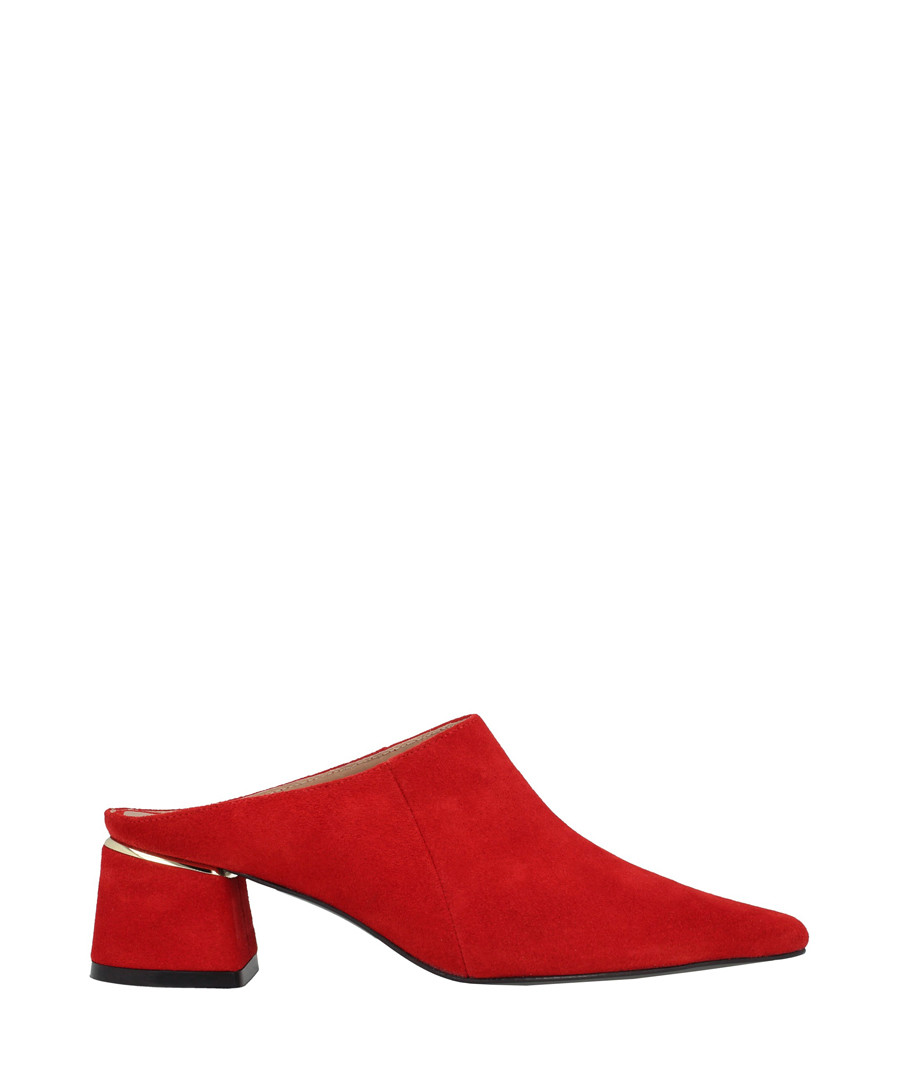 Red leather block heel mules Sale - roberto botella
