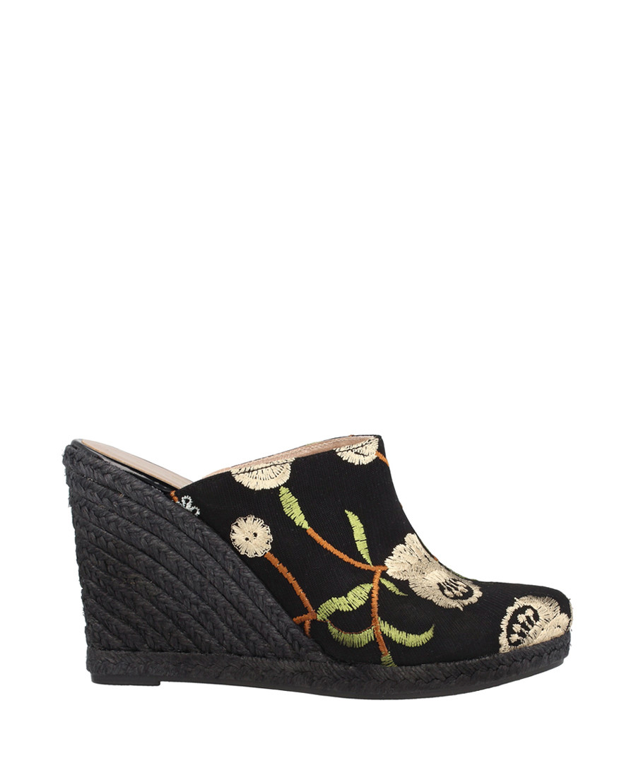 Black textile floral wedge mules Sale - roberto botella