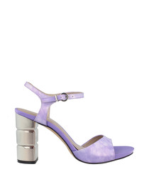 Lilac leather block heel sandals