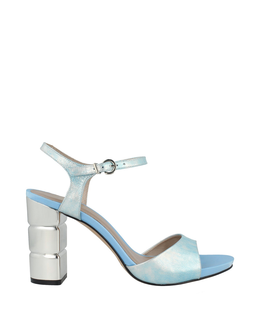 Aqua leather block heel sandals Sale - roberto botella