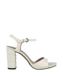 White leather block heel sandals