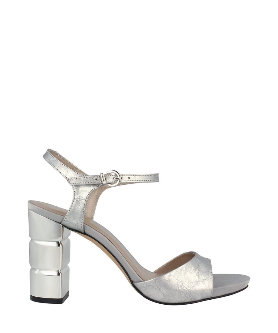 Silver-tone leather block heel sandals Sale - roberto botella