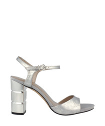 Silver-tone leather block heel sandals