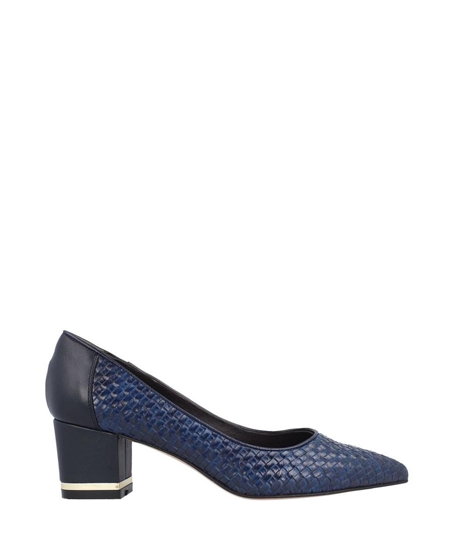 Navy leather trim weave block heels Sale - roberto botella