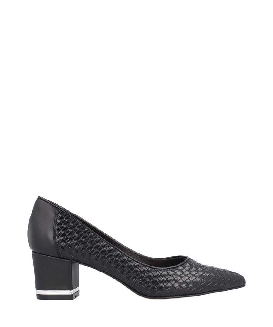Black leather weave block heels Sale - roberto botella