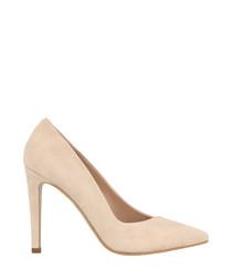 Beige suede court heels