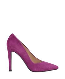Magenta suede court heels