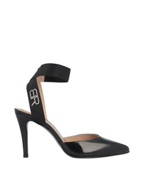 Black leather logo wrap heels