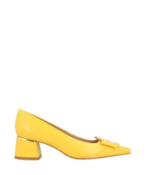 Canary yellow leather mid block heels