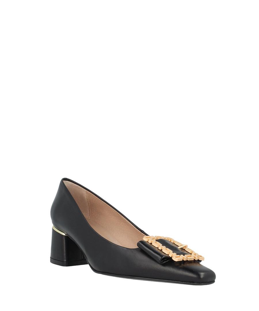 Black leather pendant mid heels Sale - Roberto Botella