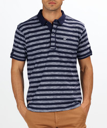Navy stripe pure cotton polo shirt