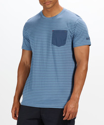 Pewter & navy pure cotton pocket T-shirt