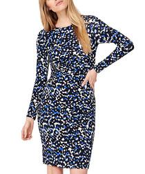 Esta cobalt & black print mini dress