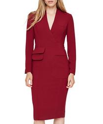 Riya burgundy pocket dress