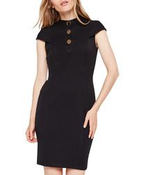 Maddie black cap sleeve button dress
