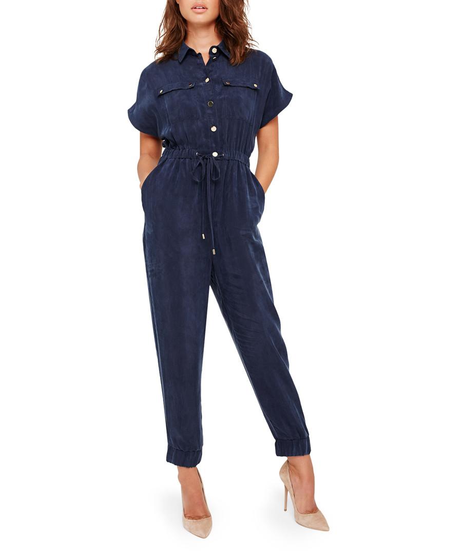 Monica navy short sleeve jumpsuit Sale - damsel in a dress