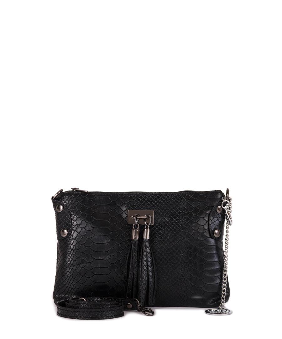 Black moc-croc leather tassel clutch Sale - mia tomazzi