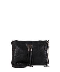 Black moc-croc leather tassel clutch