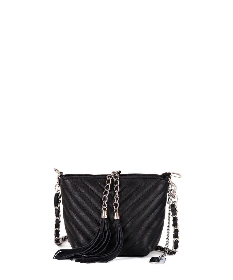 Black leather tassel crossbody Sale - anna morellini