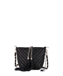 Black leather tassel crossbody