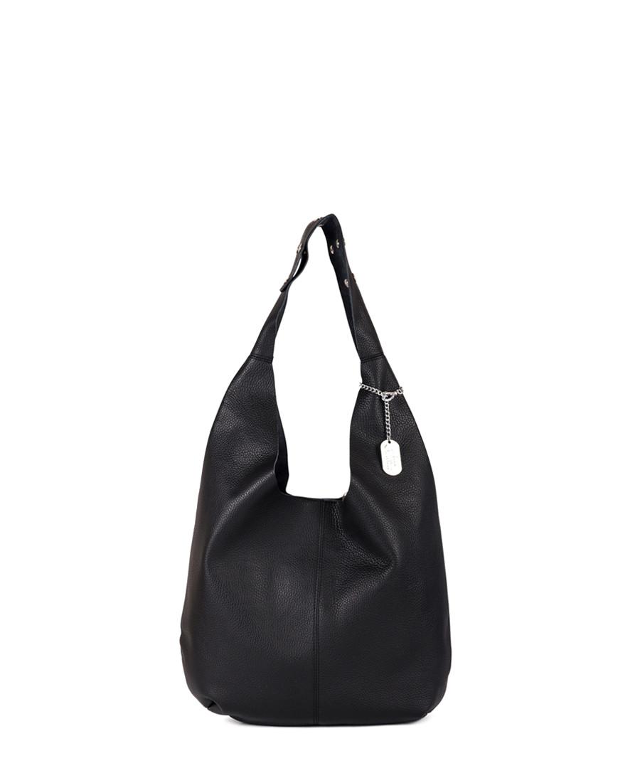 Black leather slouch shoulder bag Sale - anna morellini