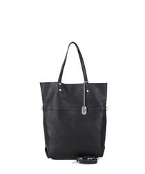 Black leather longline shoulder bag