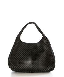 Black leather weave-effect shopper