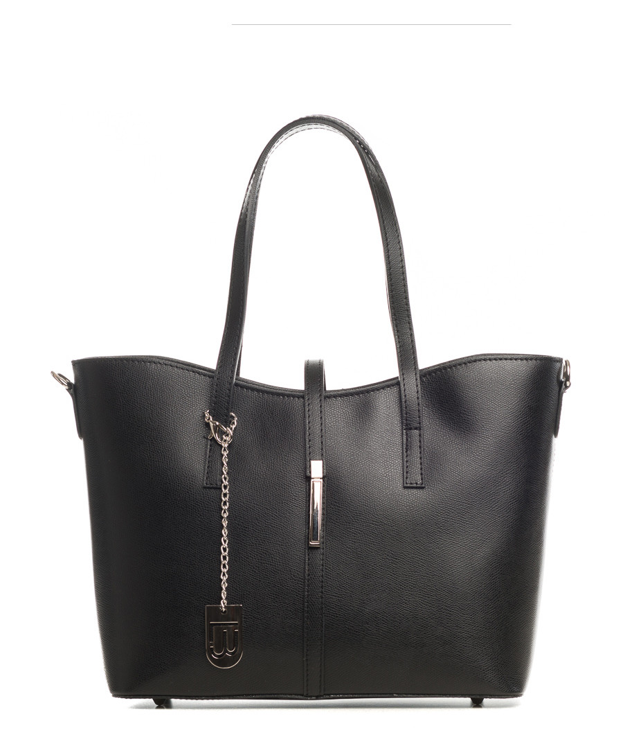 Black smooth leather shopper Sale - lucca baldi
