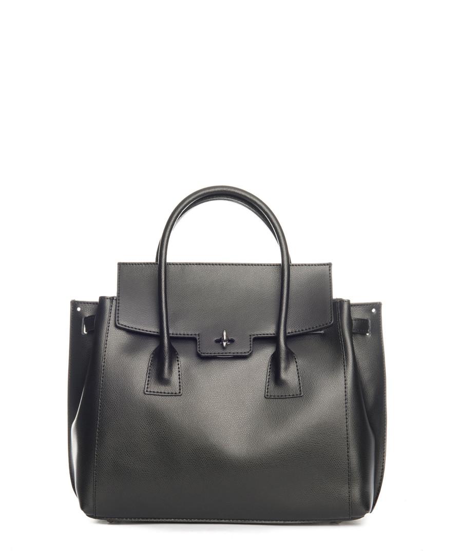 Black smooth leather fold-over shopper Sale - lucca baldi