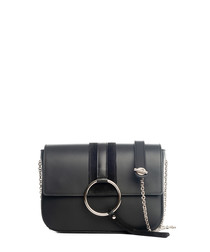 Black leather chain crossbody