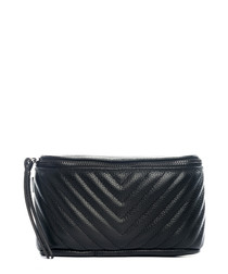 Black leather chevron waist bag