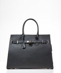 Black leather padlock shopper