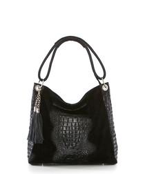 Black moc-croc leather shopper