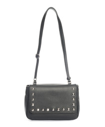 Black leather studded crossbody