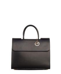 Black smooth leather fold-over grab bag