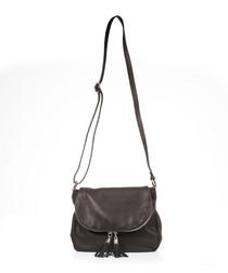 Black leather tassel crossbody