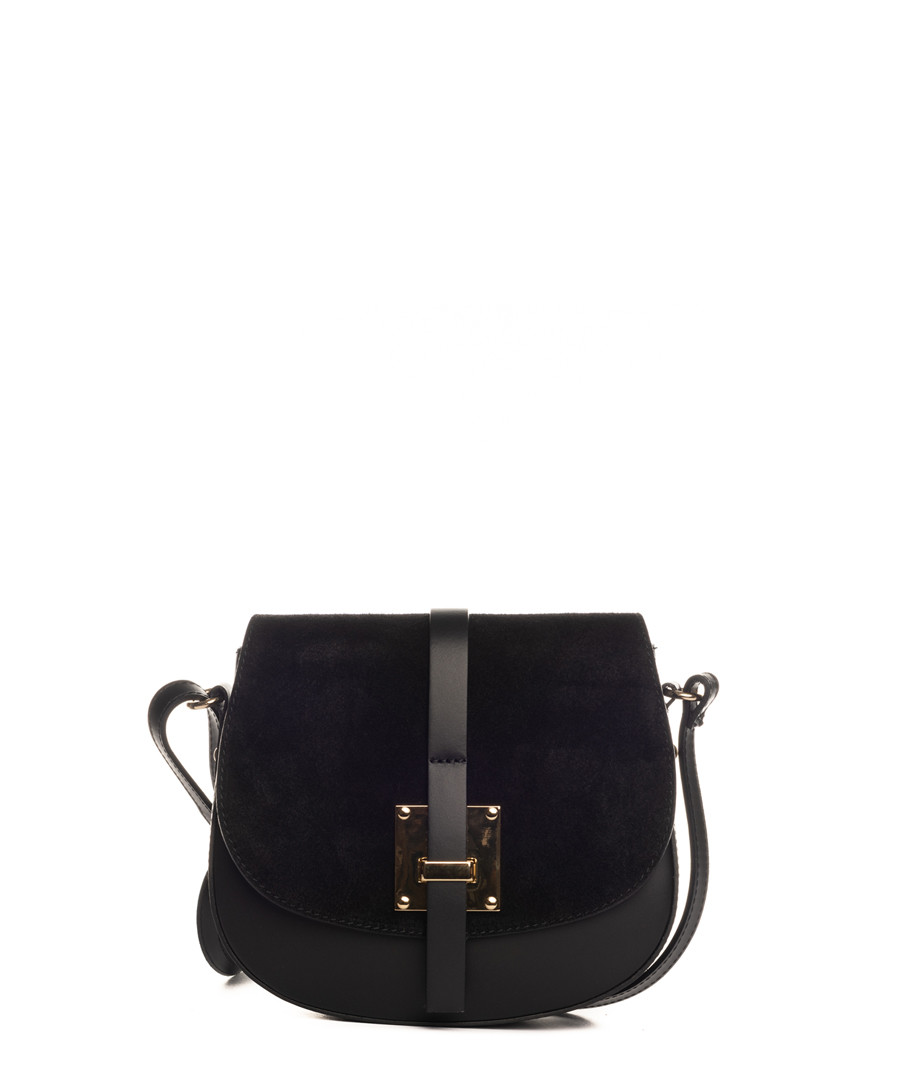 Black leather fold-over crossbody Sale - lia biassoni
